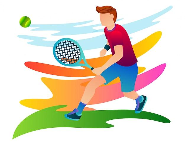 Tenisista ściga piłkę, która zbliża się do niego podczas międzynarodowych zawodów tenisowych.