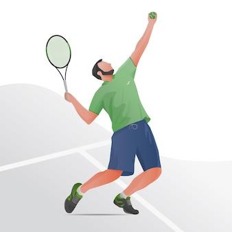 Tenisista w ilustracji akcji