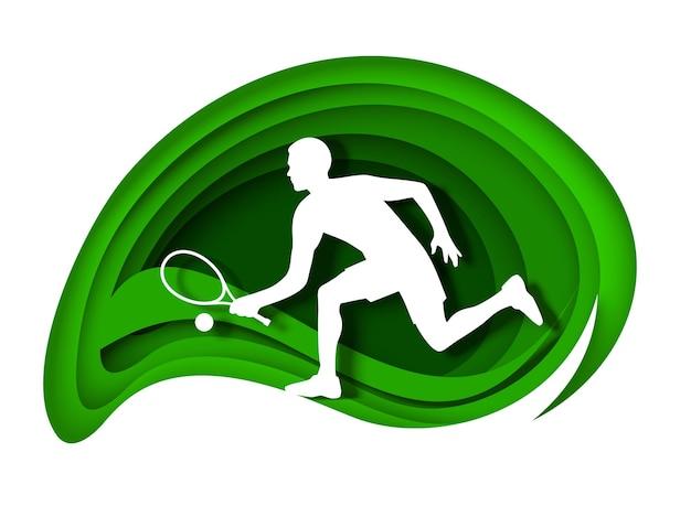 Tenisista z rakietą i piłką biała sylwetka wektor wycięcie papieru ilustracja tenis sport gra ...