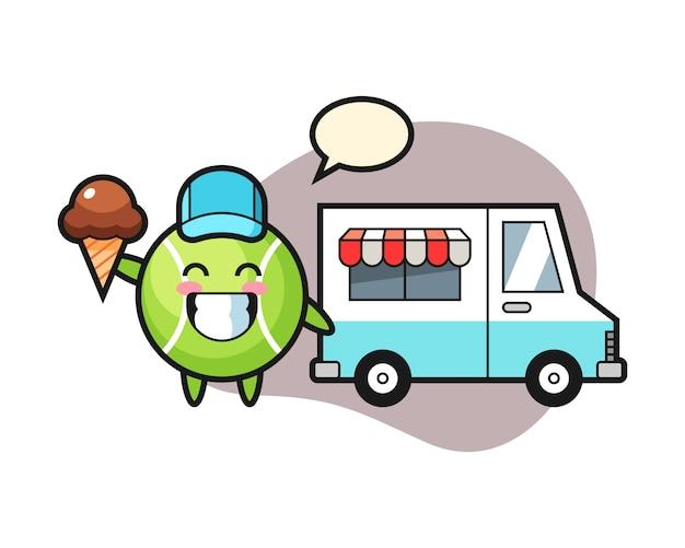 Tenisowa kreskówka z lody ciężarówką