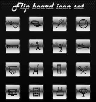 Tenisowe wektorowe ikony mechaniczne z klapką do projektowania interfejsu użytkownika