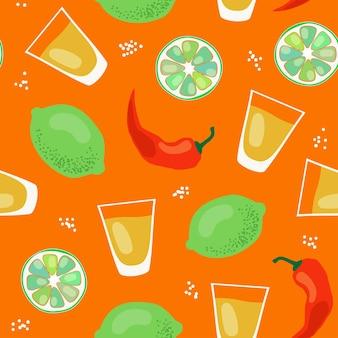 Tequila wzór wektor wzór z alkoholem w strzałach limonki i papryczki chili