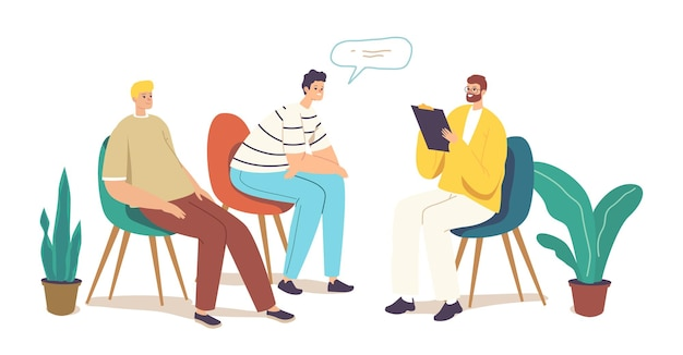 Terapia grupowa, doradztwo, pomoc psychologiczna. postacie męskie cierpiące na problemy psychiczne uczestniczące w spotkaniu wsparcia psychologicznego