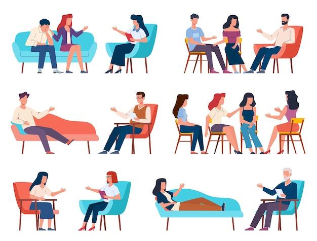 Terapia grupowa. mężczyźni i kobiety rozmawiają z psychoterapeutą lub psychologiem. psychoanaliza i psychoterapia rodzinna, poradnictwo i terapia w zakresie problemów psychicznych z kolekcją wektorów znaków grupy wsparcia