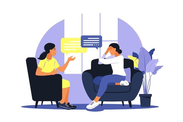 Terapia i poradnictwo w warunkach stresu i depresji. młoda psychoterapeutka wspiera kobietę z problemami psychologicznymi. ilustracja