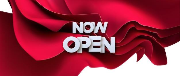 Teraz Otwórz Biały Znak Na Czerwonym Tle Tkaniny Premium Wektorów