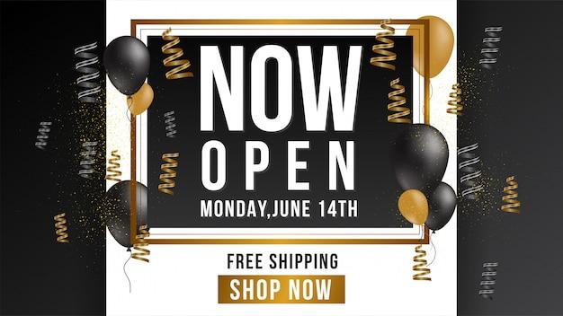 Teraz otwórz sklep lub nowy sklep złoty i szary luksus luksusowy znak na czarnym tle.