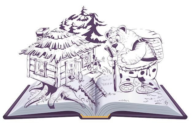 Teremok rosyjska bajka otwarta książka ilustracja. niedźwiedź i dom ze zwierzętami. na białym tle na biały rysunek