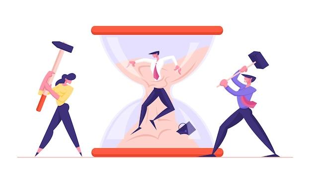 Termin pracownik biurowy frustracja kariera wypalenie zawodowe zmartwiony biznesmen utknął w klepsydrze