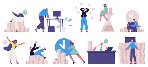 Termin pracy biurowej. niezorganizowane, pędzące postacie biurowe, zestaw do zarządzania czasem
