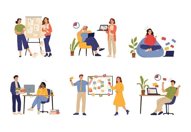 Termin pracy. praca w firmie, problemy z pracą lub niepowodzenie w zarządzaniu czasem. ludzie zmęczeni i nieudani koncepcja wektor dyscypliny. ilustracja czasu zarządzania, wielozadaniowości i produktywności