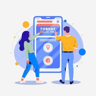 Termin rezerwacji mobilny interfejs koncepcji