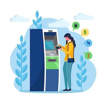 Terminal bankowy bankomatu. kobieta klientka stojąca w pobliżu czytnika kart kredytowych i wypłacająca pieniądze. projekt kreskówki