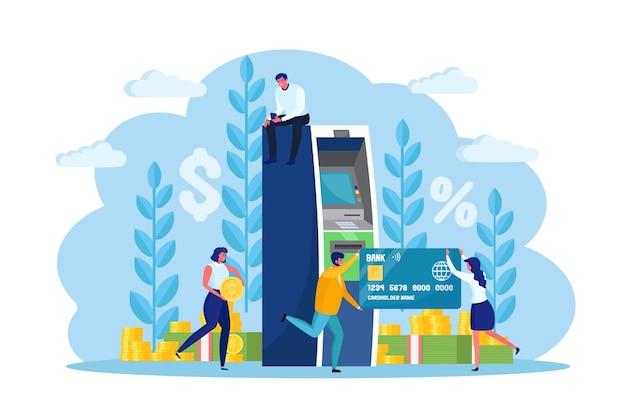 Terminal bankowy bankomatu. kobieta, mężczyzna klient stojący w pobliżu czytnika kart kredytowych i wypłacić pieniądze. postać z gotówką, walutą. projekt kreskówki