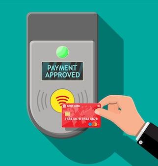Terminal i karta bankowa w ręku z cieniem