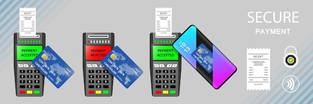 Terminal płatniczy ustaw płatność odrzucona zaakceptowana płatność mobilna poz płatność płatności zbliżeniowe