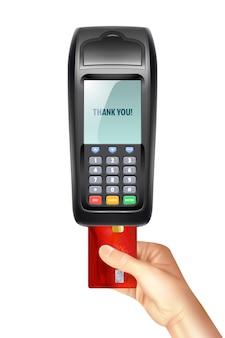 Terminal płatniczy z włożoną kartą kredytową