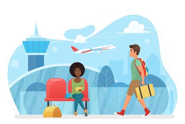 Terminal poczekalni odlotów na lotnisku z oczekującymi osobami siedzącymi w fotelach