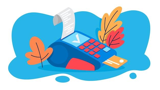 Terminal pos do płatności kartą kredytową. idea banku i zakupów. urządzenie do karty debetowej. ilustracja