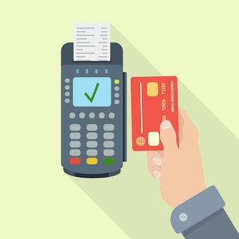 Terminal pos z paragonem, rachunkiem. bezgotówkowa płatność kartą kredytową lub debetową. system nfc