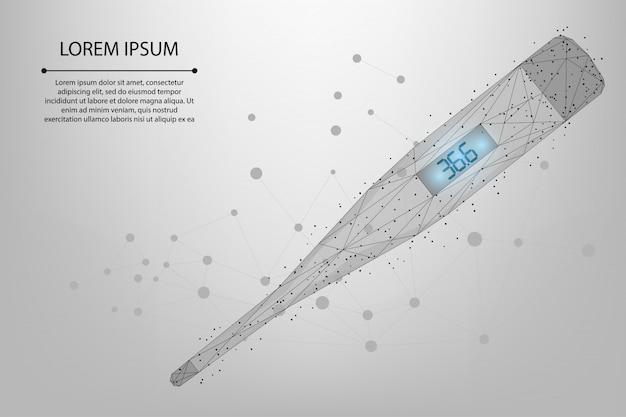 Termometr low poly z 36,6. elektroniczny pomiar ciepła ciała. narzędzie lekarza w poszukiwaniu covid-19.