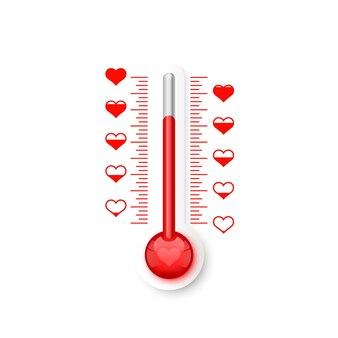 Termometr łuski miłości z symbolami serca. ilustracja wektorowa