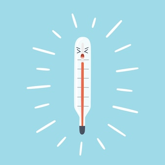 Termometr medyczny pokazuje wysoką temperaturę ciała czerwona kolumna na skali termometru jako symbol feve