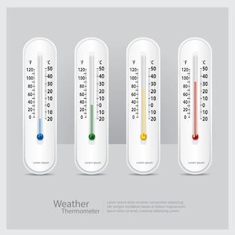 Termometr pogodowy na białym tle