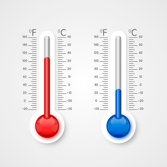 Termometr zimna i ciepła, skala temperatury zimowej i letniej. ilustracja wektorowa