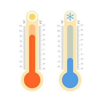 Termometry meteorologiczne na białym tle. temperatura zimna i ciepła
