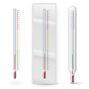 Termometry z podziałką na białym tle