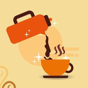 Termos kawy odlewania gorący napój na kubek