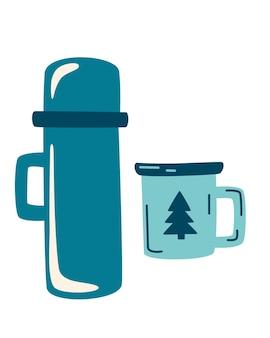 Termos kempingowy i emaliowany kubek. zestaw podróżny z termosem. zabierz kawę lub herbatę. zimowy lub biwakowy tradycyjny napój rozgrzewający. piesze wycieczki gorące napoje lub ikony kolby herbaty. ilustracja wektorowa płaski.