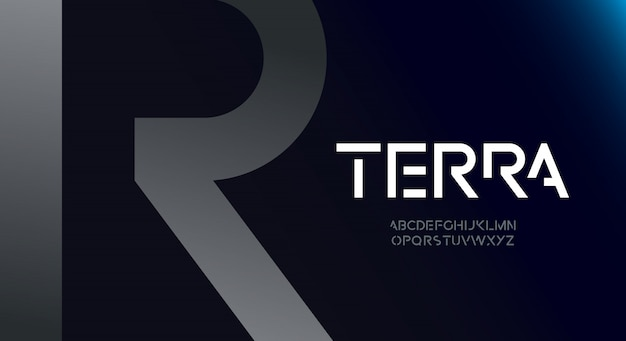 Terra, futurystyczna czcionka alfabetu z motywem technologicznym. nowoczesny minimalistyczny projekt typografii