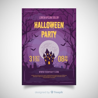 Terrific plakat party halloween z płaska konstrukcja