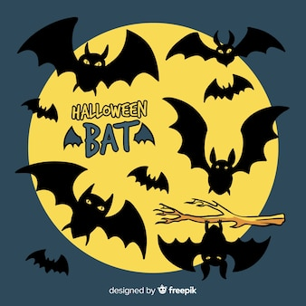 Terrific ręcznie rysowane nietoperzy halloween