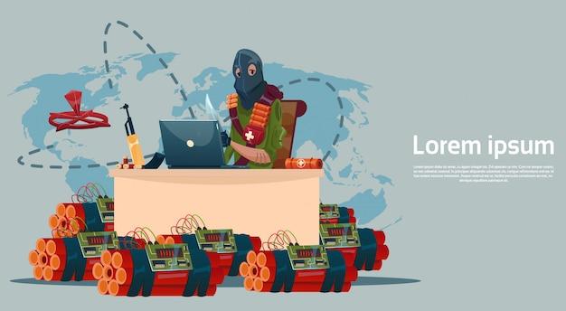 Terrorism armed terrorist black mask hold weapon machine gun planowanie world attack