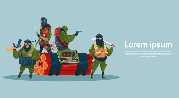 Terrorism armed terrorist group black mask hold weapon machine gun