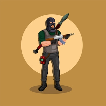Terrorysta nosi maskę, w pełni uzbrojony, z bronią, wyrzutnią rakiet i bombą