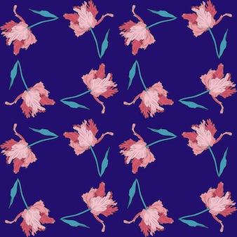 Terry różowe ładne tulipany jednolity wzór ręcznie rysowane ilustracji wektorowych grafika liniowa