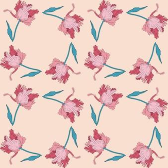 Terry różowe ładne tulipany. wzór. ręcznie rysowane ilustracji wektorowych. grafika liniowa. tekstury do druku, tkaniny, tkaniny, tapety.