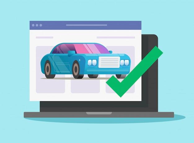 Test diagnostyczny pojazdu online z zatwierdzonym zabezpieczeniem znacznika wyboru na komputerze
