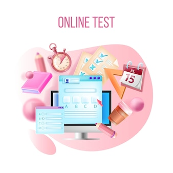 Test online, egzamin z kursu internetowego, koncepcja e-learningu w zakresie edukacji internetowej, ekran komputera, kalendarz.