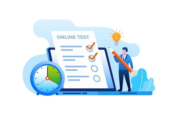 Test online z ilustracją wektorową płaskiego laptopa na baner i stronę docelową