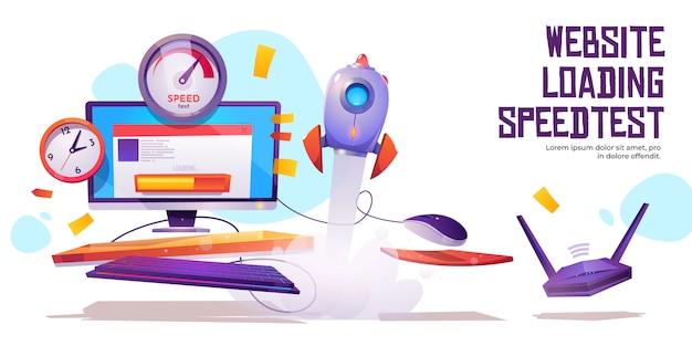 Test prędkości ładowania strony internetowej banner ruch internetowy
