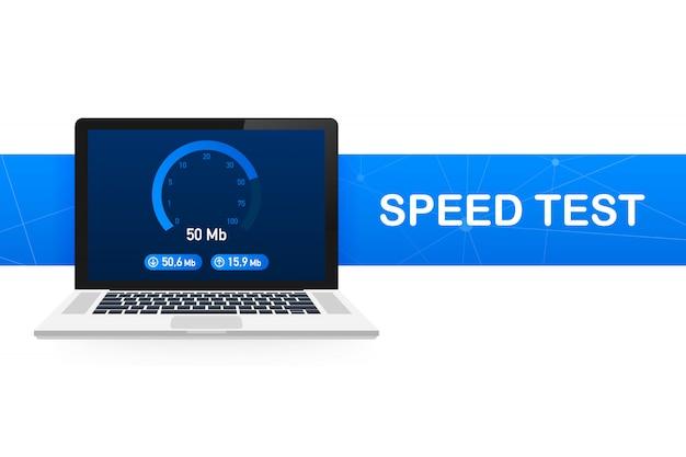 Test prędkości na laptopie. prędkościomierz internet speed 100 mb. szybkość ładowania strony internetowej. ilustracja.