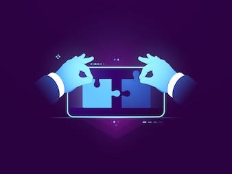 Testowanie aplikacji mobilnych, połączenie dwóch elementów układanki, koncepcja rozwoju ux ui