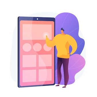 Testowanie aplikacji. projektant ux, interfejs smartfona, przenośna elektronika. mężczyzna postać z kreskówki organizuje aplikacje na ekranie telefonu komórkowego.
