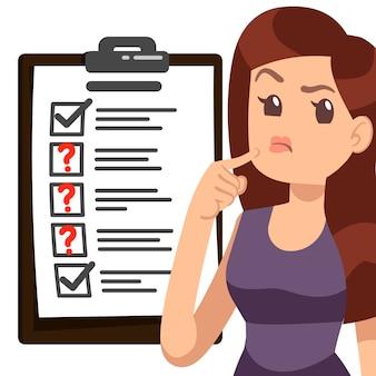 Testowanie ilustracji kobiety. lista kontrolna dziewczyna postać z kreskówek
