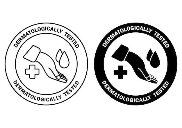 Testowany dermatologicznie, oznakowany kroplą wody i krzyżykiem. klinicznie sprawdzone, ikony dla niealergicznych i zdrowych, bezpiecznych opakowań produktów. etykiety na produkt bez alergenów. wektor w zarysie i glifie